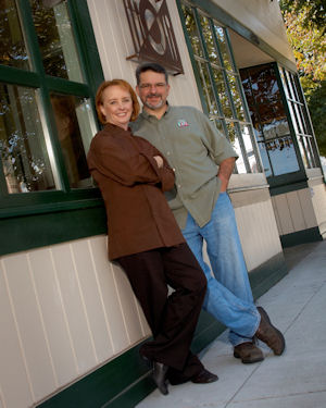 Jim and Amber Balshaw, Owners of Preferred Sonoma Caterer, with their historic store front